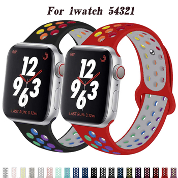 Strap for Apple watch band 38mm 44 mm iwatch band 42mm 40 mm Accessories Silicone Sport bracelet for apple Watch series 5 4 3 2 soft silicone sport band for apple watch series 2 replacement strap for apple iwatch two colors sport band joyozyluxury bands