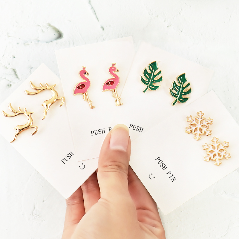 TUTU Plant Snow Flamingo Deer Shape 8pcs Push Pins Thumbtack High Quality Cork Board Safety Thumb Tack Office Accessories H0340