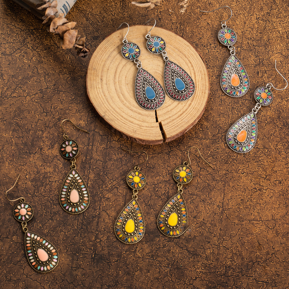 Ethnic Big Long Water Drop Earrings for Women Bohemian Vintage Metal Colorful Flowers Wedding Statement Earring Indian Jewelry (12)