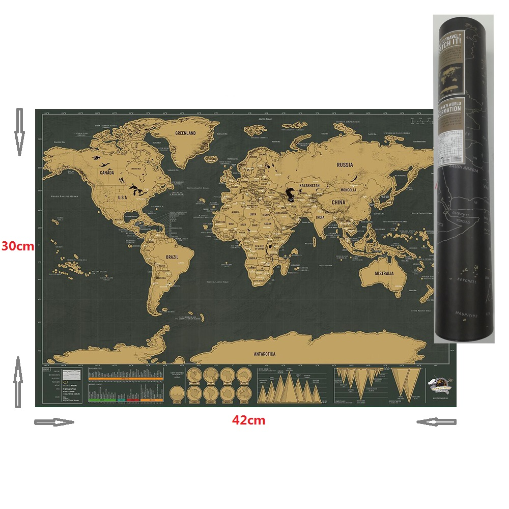 30cm*42cm World Map Scratch Map Travel Map Poster Copper Personalized Journal Log Small Size With Cylinder Packing