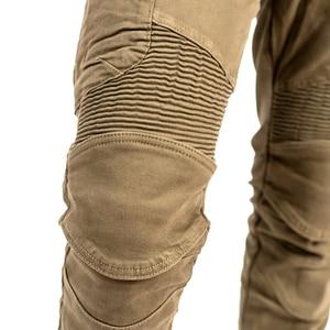 Image 5 - 2019 New Khaki Motorcycle Pants Black Men Moto Jeans Zipper Protective Gear Blue Motorbike Trousers Motocross Pants Moto Pants