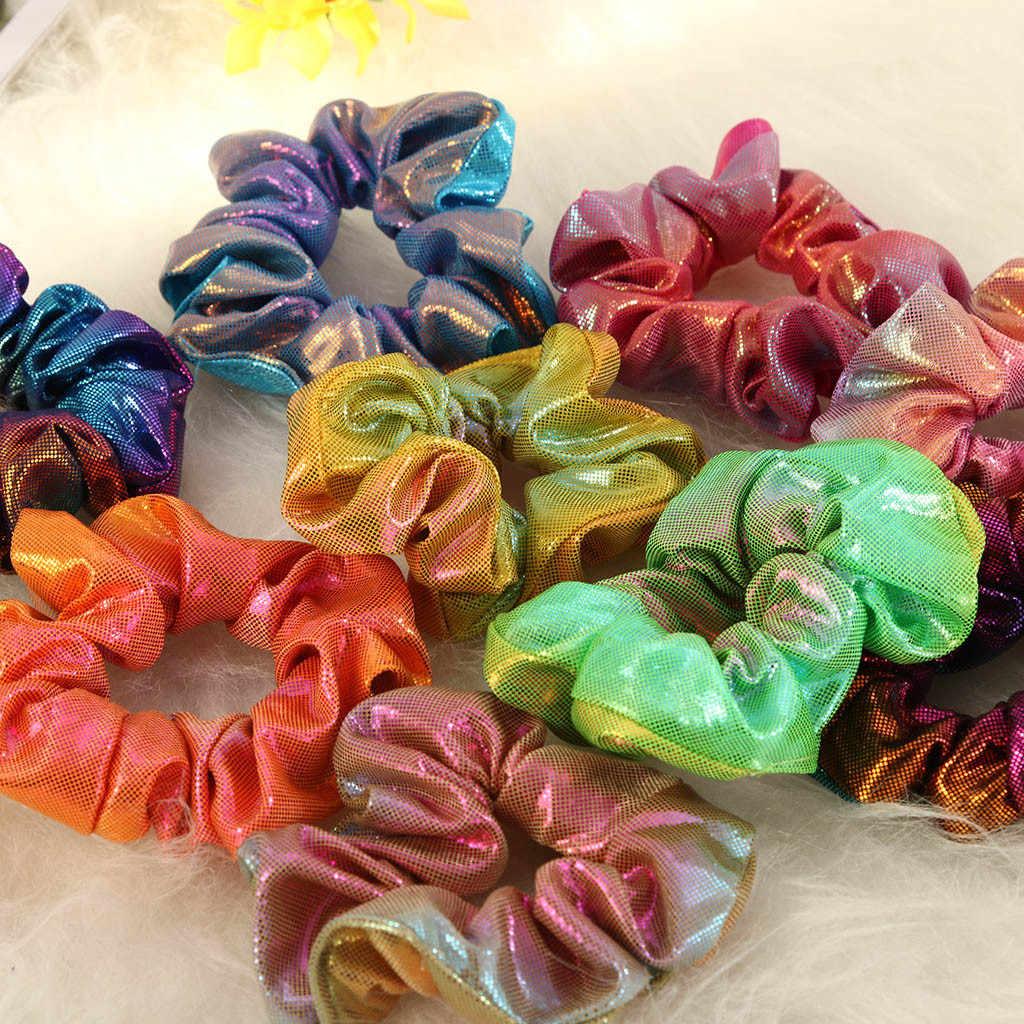 12 pièces nouvelle mode femmes coloré élastique bronzant cheveux corde paillettes élastique pour queue de cheval anneau de cheveux Scrunchies livraison directe Headwear30H