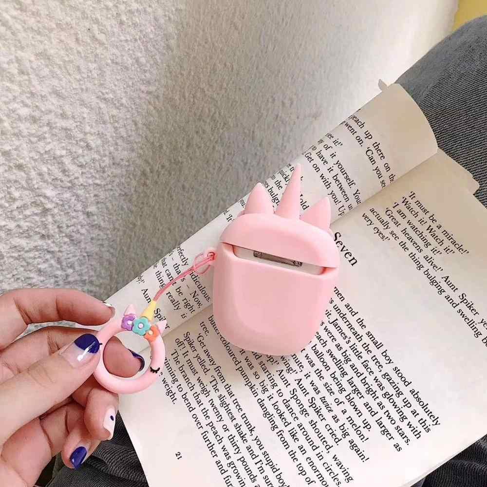 Cute Cartoon jednorożec pokrywa silikonowa dla Apple Airpods 1 2 bezprzewodowy etui na słuchawki słuchawkowe chronić przypadkach palec pierścień brelok