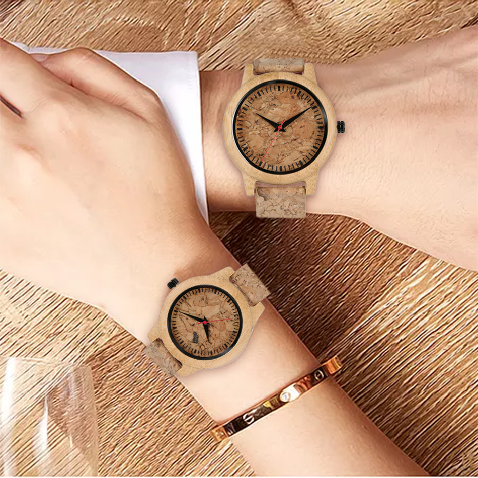 Creative Couple Wood Watches Corkwood Watch Band Quartz Lovers Wristwatches Gifts Valentines Present New Arrival 2020