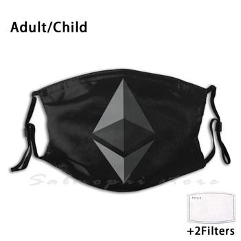 Ethereum On Black Face Mask Adult Kids Anti Dust Filter Diy Mask Ethereum Eth Crypto Cryptocurrency Blockchain Bitcoin Mask 1