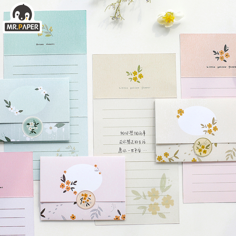 Mr.Paper Chinese Ancient Style Flowers Greeting Card Butter Paper Envelopes With Seal Stickers Wonderful Creative Gift Envelopes