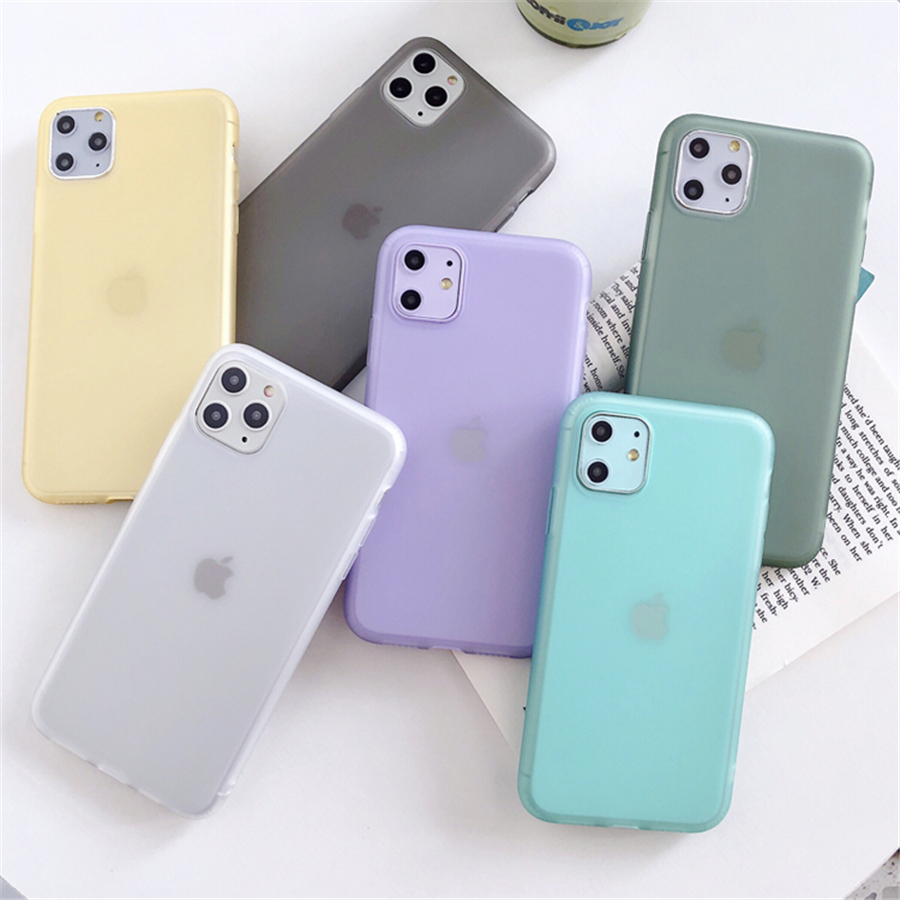 Soft Silicone Candy color <font><b>Case</b></font> For iPhone 11 Pro XS Max XR X 10 8 7 6 5 S 5S 5SE 6S Plus 7Plus 8Plus 6Plus Cell Phone Back Cover image