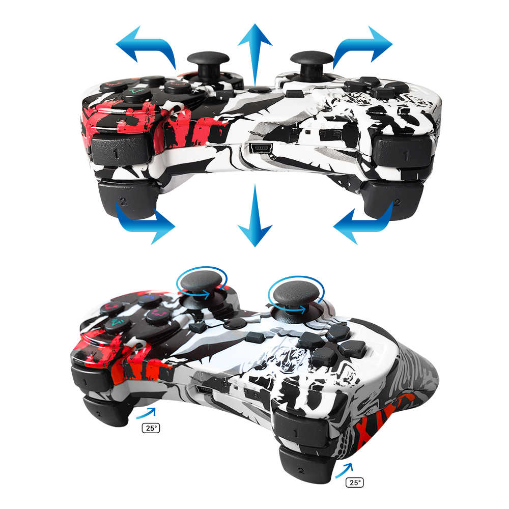 K Ishako 6 Axis Wireless Game Controller untuk Snoy PS3 Game Joystick USB Joystick untuk PC Bluetooth Getaran Gamepad untuk PS3