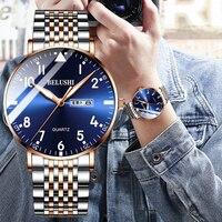 BELUSHI moda yeni erkek saatler en lüks marka su geçirmez Quartz saat erkekler rahat paslanmaz çelik iş tarihi kol saati