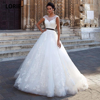 LORIE Cap Sleeve Wedding Dresses Lace Elegant Soft Tulle Ball Gown Beach Bridal Gown Open Back Marriage Gowns with Sashes lorie half sleeves champagne wedding dresses with pocket elegant satin lace ball gown bridal gowns back illusion bride dress