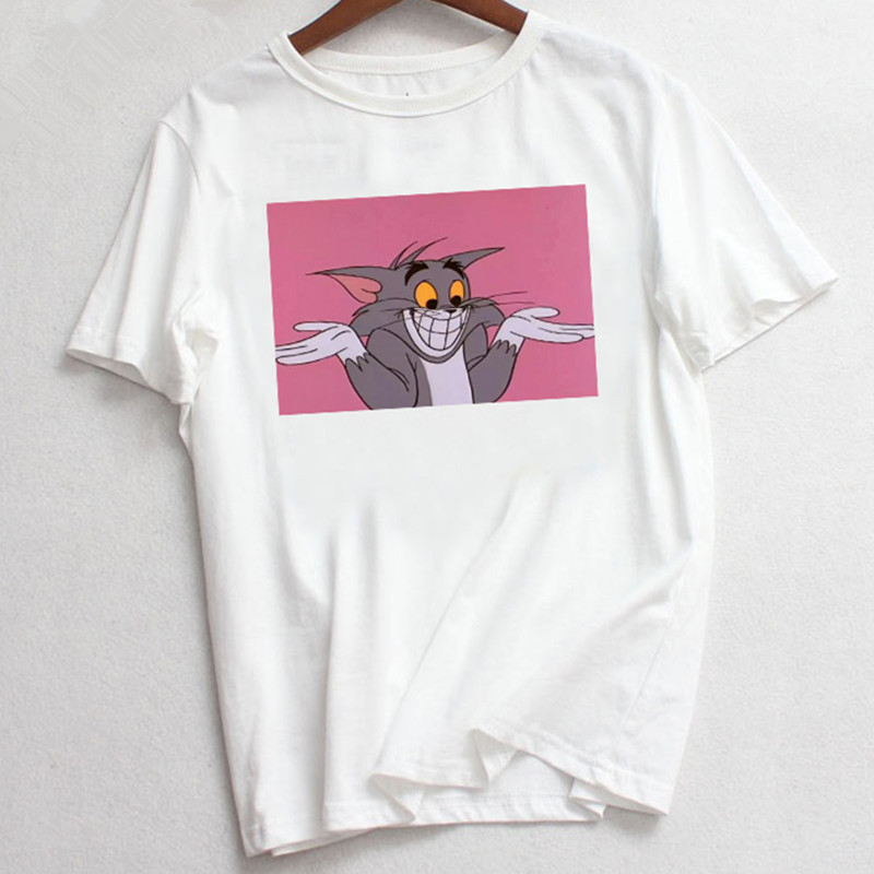 ZOGANKIN Jerry Mouse Cat Tom Print Cartoon Casual Summer Tops Fun Spoof Female Loose Letters Large Size Tees Cute Ulzzang Vintag