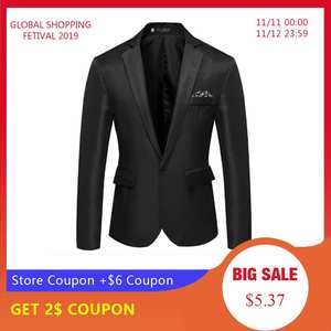 LASPERAL Blazer Jacket Coat Blend Long-Sleeve Formal Cotton One-Button-Suit Top Notched