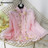 2019 chinese blouse traditional chinese top short sleeve floral cheongsam top qipao shirt chinese blouse for woman lace