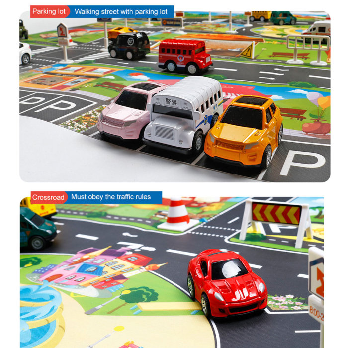 Hb3713e1ed7d945edb5c30ad79520b8a30 Hot Selling 130*100cm Children Play Mats House Traffic Road Signs Car Model Parking City Scene Map