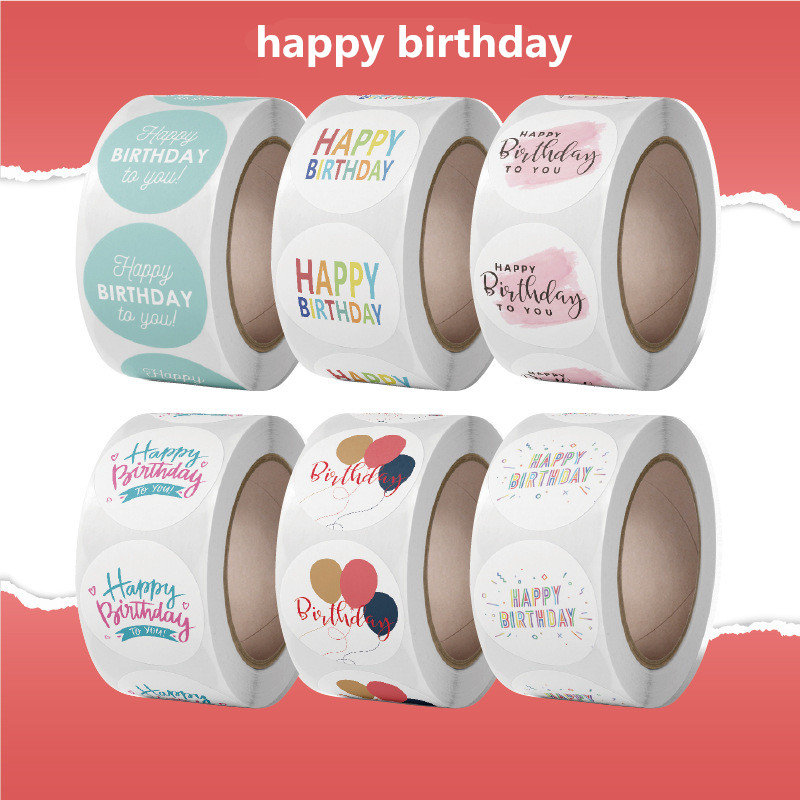 Various Styles Happy Birthday Theme Stickers Thank You Sealing Labels 1inch/500pcs for Scrapbook Party Supplies Gift Decoration