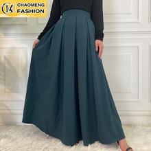 Faldas Largas Mujer Pleated A Line Long Skirt Abayas For Women Maxi Vestidos  Jupe Longue Femme Musulman Elegant Modest Clothing