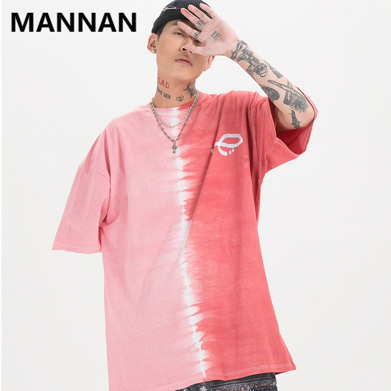 MANNAN 2020 Summer Tops Tees Streetwear mens clothing Tie Dye Pink Harajuku Tshirt Short Sleeve T-Shirt Fashion tee shirt fila