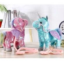 Новейшие 35 см электрические ходячие плюшевые игрушечные единороги мягкие игрушки животных Электронная Музыка игрушечный Единорог для детей Рождественский подарок