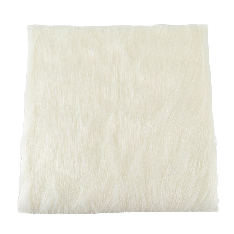 15.7inch Luxurious Square Genuine Sheepskin Leather With Long Plush Wool Fur Chair Car Seat Cover Cushion Pad Area Rug(Natural W