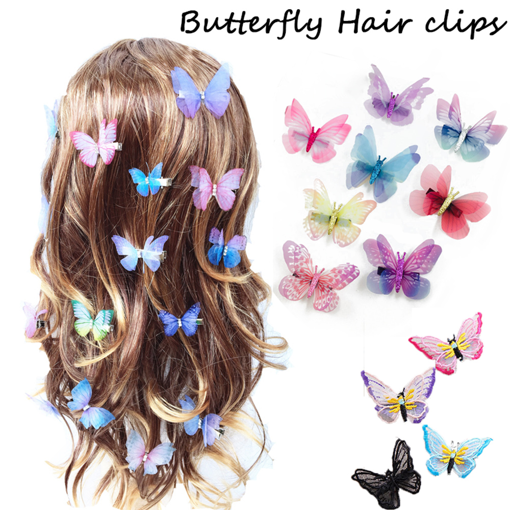 2 PCS/Set Girl Mini Barrettes Colorful Butterfly Cartoon Hairpin Children Fashion Hair Clips For Wedding Bridal Hair Accessories