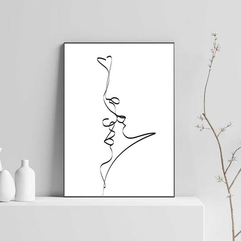 Abstrak Beberapa Ciuman Single Line Menggambar Cinta Cetak Hitam Putih Poster Hadiah Romantis Kamar Tidur Dinding Art Lukisan Dekorasi