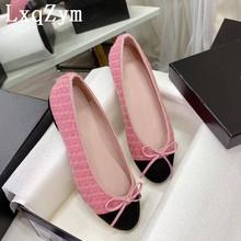 Mieszane kolorowe buty na płaskiej podeszwie kobiet Tweed różowe buty luksusowe marki projekt panie buty komfort wypoczynek na świeżym powietrzu buty wakacje tanie tanio LxqZym GENUINE LEATHER Kożuch CN (pochodzenie) Mieszkanie (≤1cm) Na co dzień podstawowe Kwadratowy obcas Otwarta RUBBER