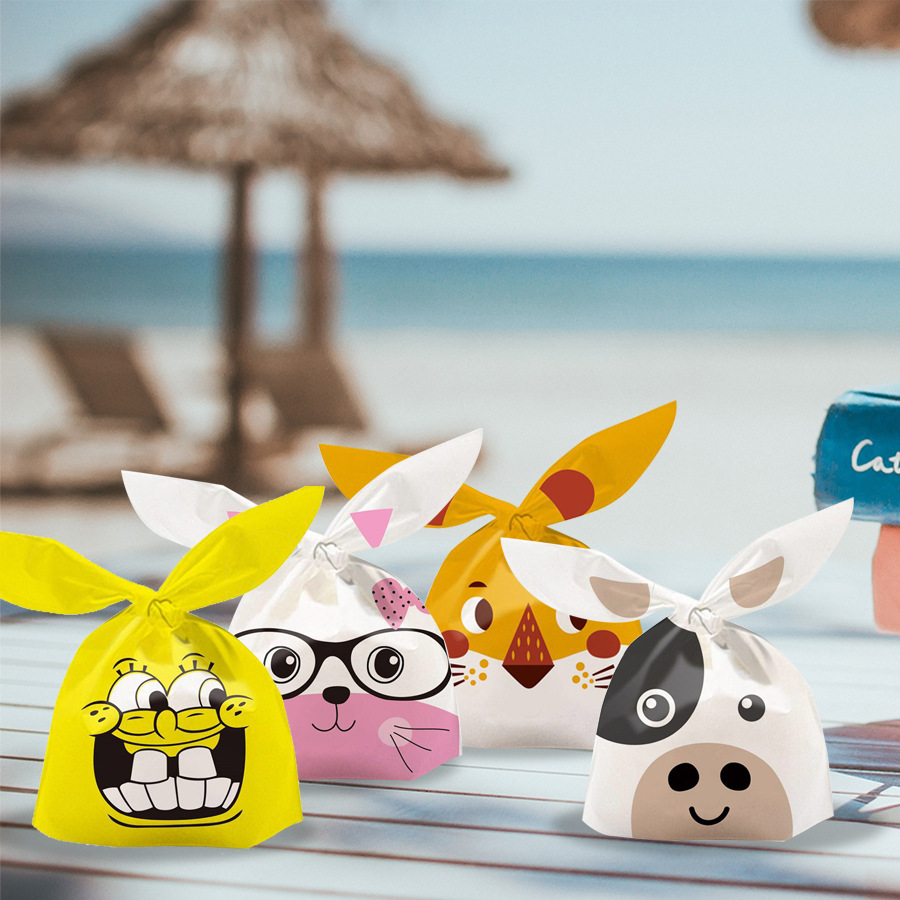 50 PCS Rabbit Long Ear Cute Wedding Party Goodie Bags Packing Cake Bonbonniere Gift Bag  Candy Present Cow For Sweets Packaging