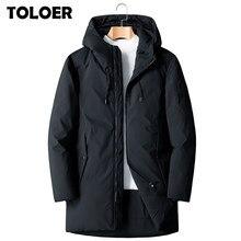 2021 yeni kalın kış erkek beyaz aşağı ceket marka giyim kapşonlu siyah uzun sıcak beyaz ördek uzun kaban erkek rüzgar geçirmez mont