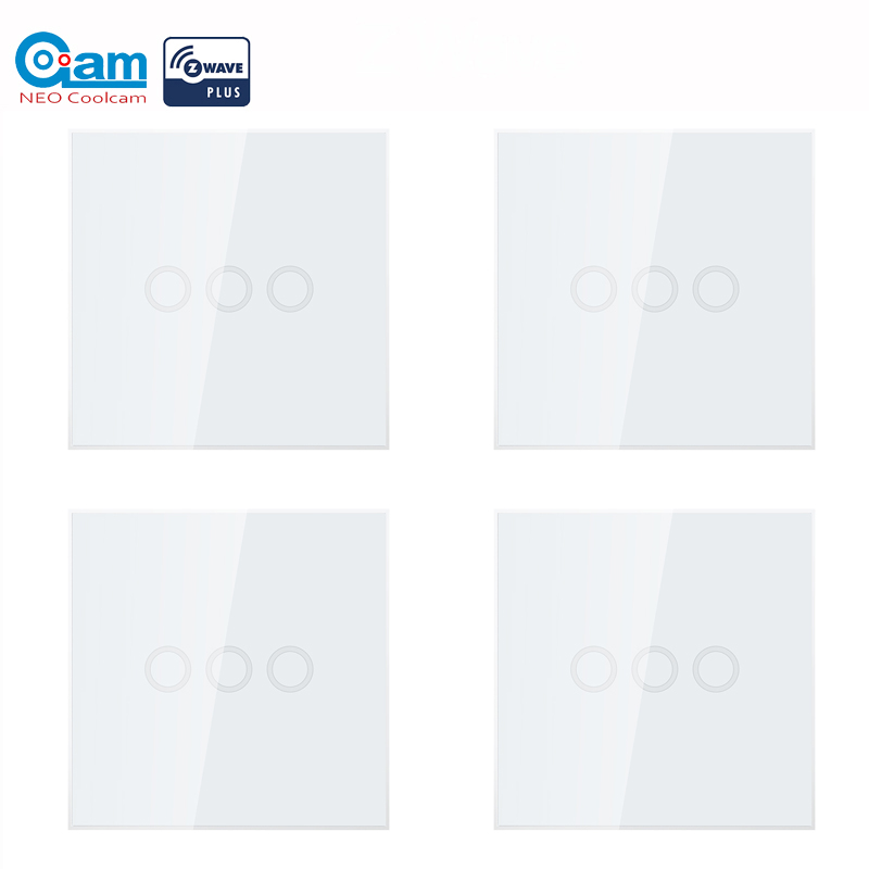 NEO COOLCAM 4pcs/lot 3CH Z-wave Plus Wall Light Switch 3 Gang Home Automation Wall Light Switch Touch Control EU 868.4MHZ