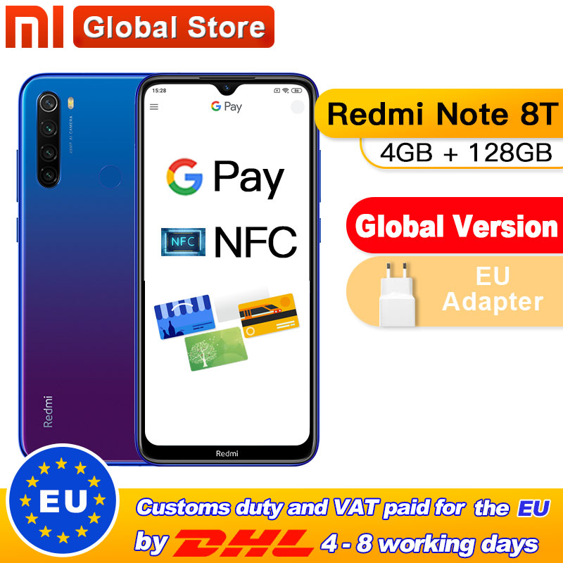 Global Version Xiaomi Redmi Note 8T 4GB 128GB NFC Smartphone 48MP Quad Rear Camera Snapdragon 665 Octa Core 4000mAh