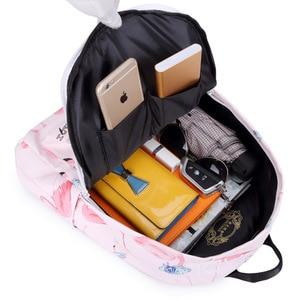Image 5 - Flamingo Printing Mini Women Backpack Waterproof Nylon College Student School Bags For Teenage Girls Bookbag female Casual Daily