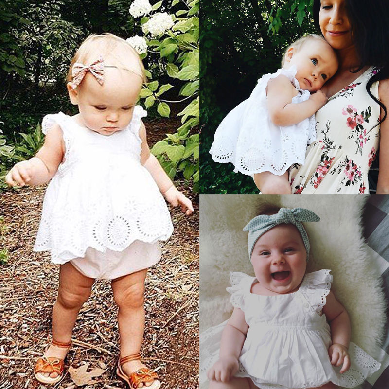 Princess Infant Baby Girl Summer Sleeveless Lace Dress Clothes
