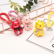 Acrylic Bell Key Chain Chinese Lucky Cat Ring Handbags Purse Beaded Keychain Charm Gifts Pendents
