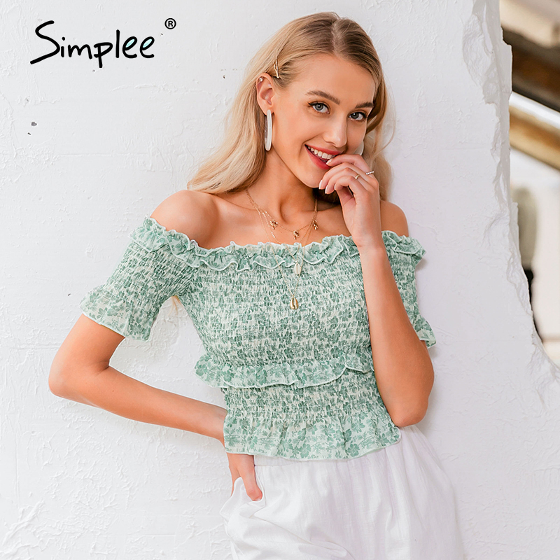 Simplee Vintage Green Floral Women Blouse Shirt Off Shoulder Crops Tops And Blouse Sexy Summer Holiday Half Sleeve Shirts Top