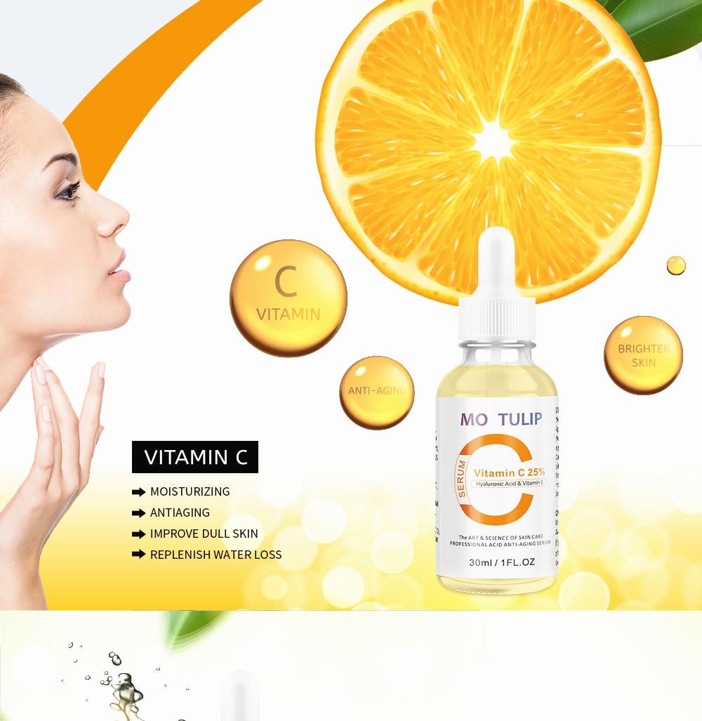 MO TULIP Hyaluronic Acid Serum + Vitamin C Serum Anti-Aging Moisturizing Skin Care Firming Treatment Whitening Moisturizing