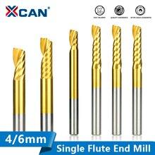 XCAN Einzigen Flöte Mühle 1pc 4/6mm Schaft Hartmetall CNC Gravur Bit Zinn Beschichtete Gerade Schaft fräsen Cutter Spirale Ende Mühlen