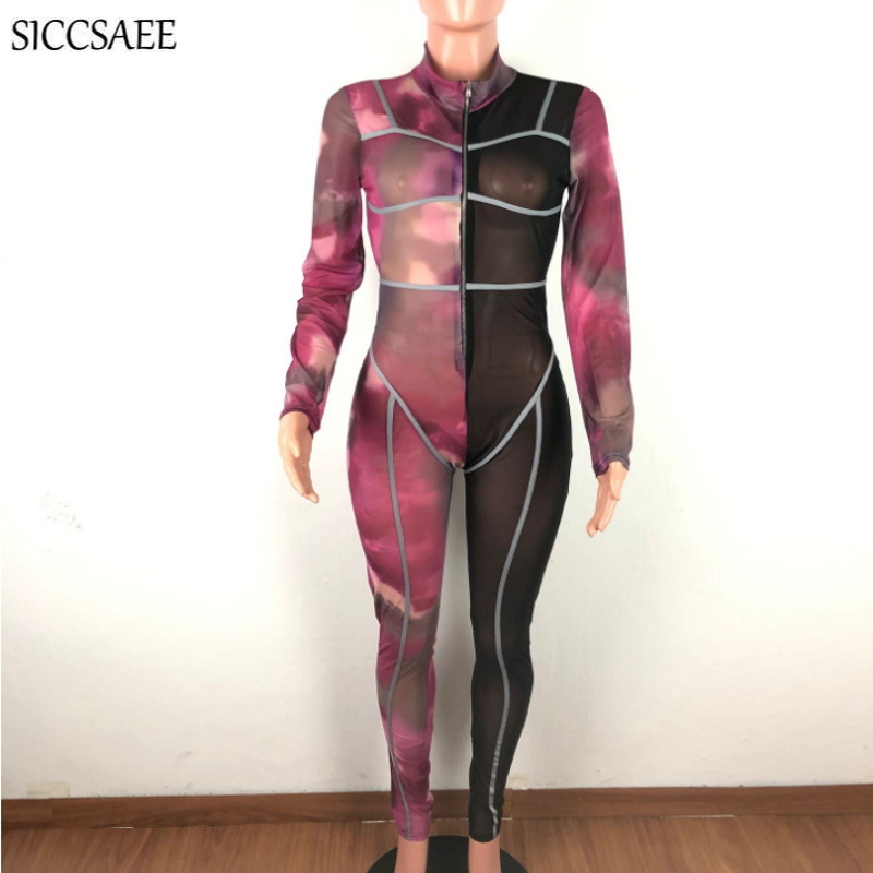Tie Dye Printed Mesh Patchwork Bandage Jumpsuits For Women 2020 See Through Slim Fit Bodycon Bodysuit Zipper Front Leotard Sexy