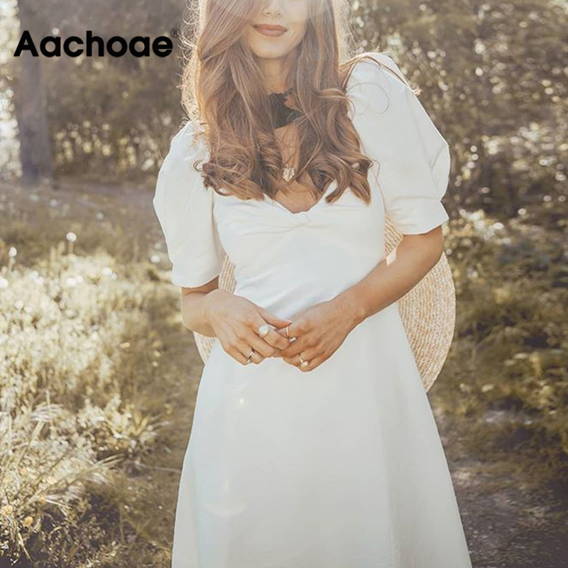 Aachoae Elegant White Midi Dress Women V Neck Puff Short Sleeve Fashion Long Dress Loose Beach Cotton Dress Vestido Mujer