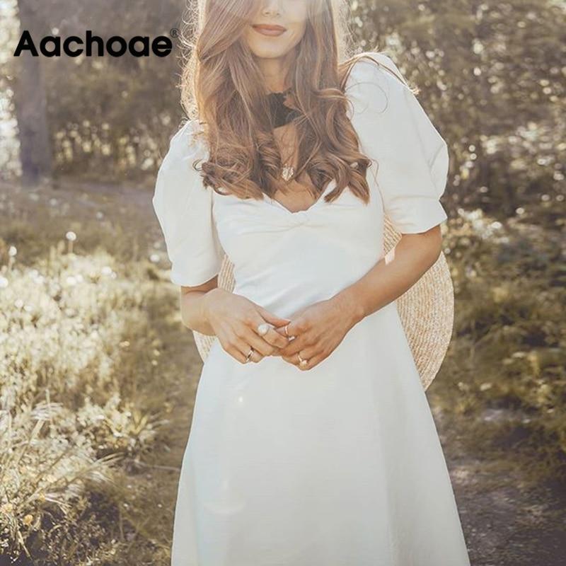 Aachoae Elegant White Midi Dress Women V Neck Puff Short Sleeve Fashion Long Dress Loose Beach Cotton Dress Vestido Mujer