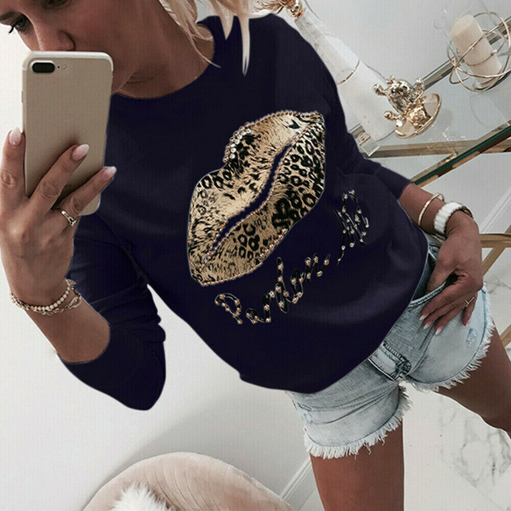 Women's Plus Sequins Fashionable Long Sleeve Casual Sweatshirt LIps Print Kawaii Sweatshirt Clothing