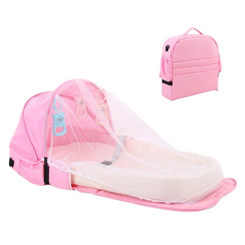 Переносная кровать с игрушками для малышей, складная детская кровать для путешествий, защита от солнца, сетка от комаров, дышащая корзина для сна для младенцев - Цвет: Розовый