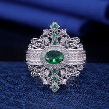 Роскошное кольцо в стиле ретро королевы, модное благородное кольцо серебряного цвета с зелеными кристаллами в стиле барокко принцессы, жен...