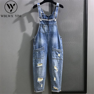 Spring Summer Women Denim Jumpsuit Fashion Loose Jeans Rompers Sleeveless Hole Jumpsuits Vintage Female Casual Denim Overalls