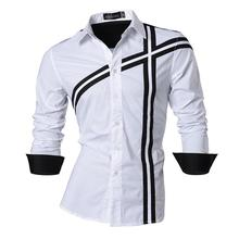 Jeansian Men's Fashion Dress Casual Shirts Button Down Long Sleeve Slim Fit Designer Z006 White long sleeve button down mini shift dress