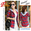 High-end women's plaid shirt Japanese style 100%Cotton Soft Breathable Comfortable Colorfast Anti-Pilling Keep-warm Hooded shirt