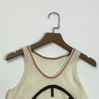 Women Tops Basketball Pattern Off white Worsted Wool Vest