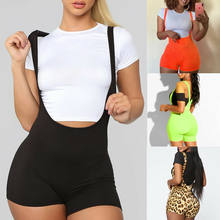Women Sexy Straps Suspender Shorts Jumpsuit Sweet Girl Lady Daily Casual Short Bib Pants Overalls Rompers Hot Sale Leopard Print(China)