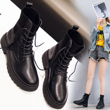 Купить с кэшбэком Women Ankle Boots Female Lace-Up Sock Boots Black Shoes Spring/Autumn/Winter Casual Ladies Platform Shoes Woman Footwear