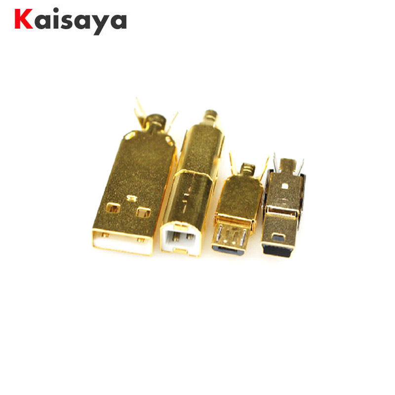Gold Plated USB A USB B Mico USB Mini USB Connector Jack Tail Sockect Connector Port Sockect For HiFi Audio Equipment