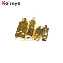 Gold plated USB A USB B Mico USB Mini USB Connector Jack Tail Sockect Connector Port Sockect For HiFi Audio Equipment